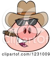 Clipart Of A Pig Head With A Cowboy Hat Cigar And Sunglasses Royalty Free Vector Illustration