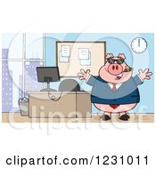 Clipart Of A Boss Business Pig With A Cigar Sunglasses And Open Arms By An Office Desk Royalty Free Vector Illustration