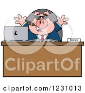 Clipart Of A Boss Business Pig With Sunglasses And A Cigar At An Office Desk Royalty Free Vector Illustration