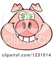 Clipart Of A Pig Head With Dollar Eyes Royalty Free Vector Illustration