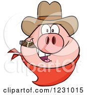 Clipart Of A Pig Head With A Cowboy Hat Cigar And Bandana Royalty Free Vector Illustration by Hit Toon