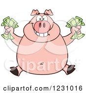 Clipart Of A Rich Happy Pig Holding Cash Money Royalty Free Vector Illustration