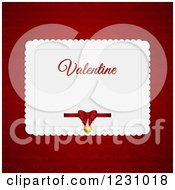 Clipart Of A Valentine Card With A Bow And Pendant Over Red Royalty Free Vector Illustration