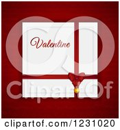 Clipart Of A Red Bow With A Valentine Card Over Red Royalty Free Vector Illustration