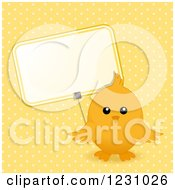 Clipart Of A Cute Easter Chick With A Sign Over Yellow Polka Dots Royalty Free Vector Illustration by elaineitalia