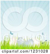 Clipart Of Speckled Easter Eggs On Grass With Butterflies And Sunshine Royalty Free Vector Illustration by elaineitalia
