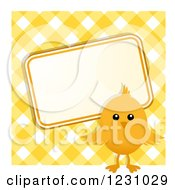 Clipart Of A Cute Easter Chick With A Sign Over Yellow Gingham Royalty Free Vector Illustration by elaineitalia