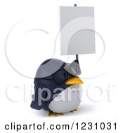 Clipart Of A 3d Bespectacled Penguin Holding A Sign Royalty Free Illustration