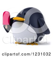 3d Penguin Holding A Popsicle