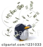 Clipart Of A 3d Penguin And Falling Cash Money 2 Royalty Free Illustration