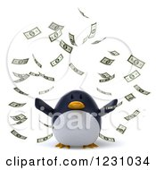 Clipart Of A 3d Penguin And Falling Cash Money Royalty Free Illustration