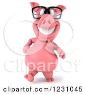 Clipart Of A 3d Bespectacled Pig Walking Royalty Free Illustration
