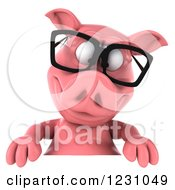 Clipart Of A 3d Bespectacled Pig Looking Down Over A Sign Royalty Free Illustration