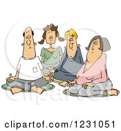 Clipart Of A Group Of Caucasian Men And Women Meditating Royalty Free Vector Illustration