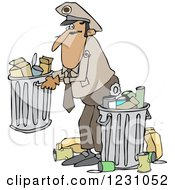 Clipart Of A Man Picking Up A Garbage Can Royalty Free Vector Illustration