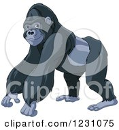 Clipart Of A Cute Strong Gorilla Royalty Free Vector Illustration