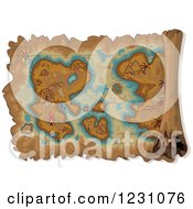 Clipart Of An Aged Parchment Pirate Map With A Treasure Island Royalty Free Vector Illustration by Pushkin