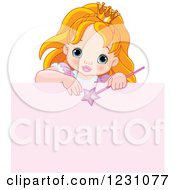 Clipart Of A Cute Red Haired Princess Girl Over A Pink Sign Royalty Free Vector Illustration