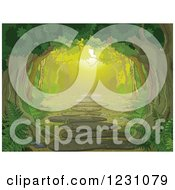 Clipart Of A Tree Canopy Over A Forest Path With Ferns Royalty Free Vector Illustration