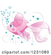 Clipart Of A Cute Pink Fish With Bubbles Royalty Free Vector Illustration