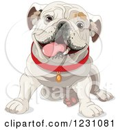 Clipart Of A Cute Happy Sitting Bulldog In A Red Collar Royalty Free Vector Illustration