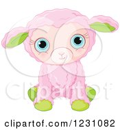 Clipart Of A Cute Pink And Green Baby Easter Lamb Royalty Free Vector Illustration by Pushkin
