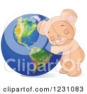 Clipart Of A Cute Teddy Bear Hugging Earth Royalty Free Vector Illustration