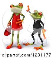 Clipart Of A 3d Male Springer Frog Dancing Behind A Female Royalty Free Illustration