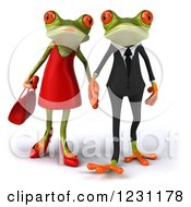 Clipart Of A 3d Springer Frog Couple Holding Hands Royalty Free Illustration