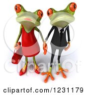 Clipart Of A 3d Springer Frog Couple Holding Hands 2 Royalty Free Illustration by Julos