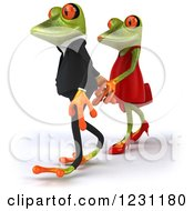 Clipart Of A 3d Springer Frog Couple Walking And Holding Hands Royalty Free Illustration