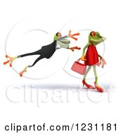 Clipart Of A 3d Male Springer Frog Leaping At A Female Royalty Free Illustration