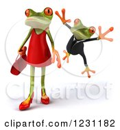 Clipart Of A 3d Male Springer Frog Leaping At A Female 2 Royalty Free Illustration