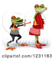 Clipart Of A 3d Male Springer Frog Dancing Behind A Female 2 Royalty Free Illustration