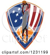 Clipart Of A Woodcut Basketball Player Slam Dunking Over An American Shield Royalty Free Vector Illustration