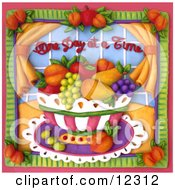 Clay Sculpture Clipart One Day At A Time Fruit Bowl Scene Royalty Free 3d Illustration
