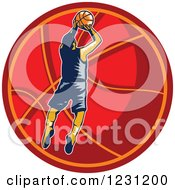 Clipart Of A Woodcut Basketball Player Jumping Over A Red Ball Royalty Free Vector Illustration