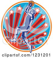 Clipart Of A Woodcut Basketball Player Jumping Over A Sun And Starburst Circle Royalty Free Vector Illustration by patrimonio