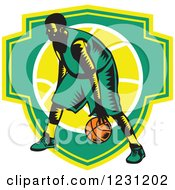 Clipart Of A Woodcut Basketball Player Dribbling Over A Green And Yellow Shield Royalty Free Vector Illustration
