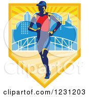 Clipart Of A Triathlete Marathon Runner Over A Skyline And Bridge In A Shield Royalty Free Vector Illustration