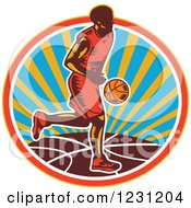 Clipart Of A Woodcut Basketball Player Dribbling Over A Sunny Circle Royalty Free Vector Illustration