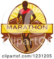 Clipart Of A Marathon Classic Run Banner Over A Man And Mountains Royalty Free Vector Illustration