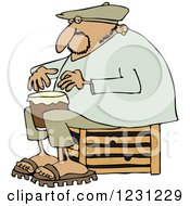 Clipart Of An Indian Man Sitting On A Crate And Playing A Drum Royalty Free Vector Illustration
