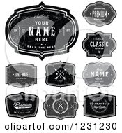 Clipart Of Distressed Black And Gray Labels With Sample Text Royalty Free Vector Illustration