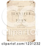 Clipart Of A Vintage Distressed Wedding Invitation Paper With Sample Text Royalty Free Vector Illustration