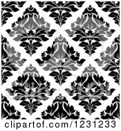 Clipart Of A Seamless Black And White Arabesque Damask Background Pattern 9 Royalty Free Vector Illustration