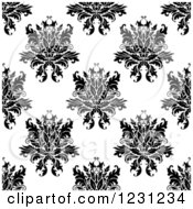 Clipart Of A Seamless Black And White Arabesque Damask Background Pattern 12 Royalty Free Vector Illustration