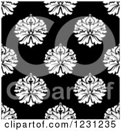 Clipart Of A Seamless Black And White Arabesque Damask Background Pattern 16 Royalty Free Vector Illustration