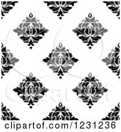 Clipart Of A Seamless Black And White Arabesque Damask Background Pattern 15 Royalty Free Vector Illustration
