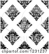 Clipart Of A Seamless Black And White Arabesque Damask Background Pattern 14 Royalty Free Vector Illustration
